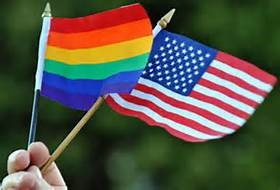 US and Rainbow Flags