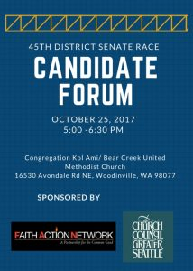 State Senate Candidate Forum - 45th District @ Congregation Kol Ami & Bear Creek United Methodist Church | Woodinville | Washington | United States