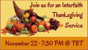 Interfaith Thanksgiving Service @ Temple B'nai Torah | Bellevue | Washington | United States