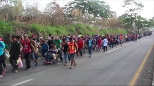 Image of the Caravan walking through Mexico from CNN