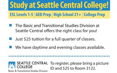 ESL Classes at Seattle Central begin 9/27 – Register now!
